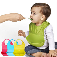 27 21CM Baby Bib Children Eat Pocket Waterproof Silicone Baby Saliva Towel Maternal And Infant Supplies