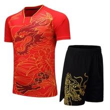 Китай Дракон женский теннисный набор для мужчин для бадминтона и настольного тенниса рубашка+ шорты дышащая одежда для пинг-понга спортивная одежда мужской Теннисный костюм