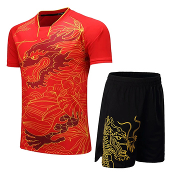 Chiny smok kobiety tenis zestaw mężczyźni Badminton tenis stołowy koszula + spodenki oddychające ping pong ubrania ubrania sportowe mężczyźni tenis garnitur tanie i dobre opinie JUNJIAN Pasuje prawda na wymiar weź swój normalny rozmiar Winter spring summer autumn shorts sleeve M L XL 2XL 3XL 4XL