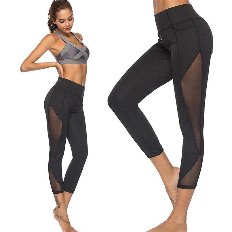 Women Yoga Pants Sexy Mesh Stitching Workout Leggings Fitness High Waist Gym Sport Pants Running Leggings Women #F40ST22 syprem yoga pants women mesh high waist yoga black leggings high elastic new sexy girls yoga pants leggings ck181015