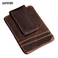 Men Money Clips Vintage Genuine Leather Front Pocket Clamp For Money Holder Magnet Magic Clip Wallet