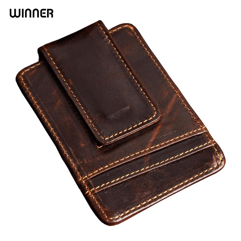 Men money <font><b>clips</b></font> vintage <font><b>genuine</b></font> leather front pocket clamp for money holder magnet magic money <font><b>clip</b></font> wallet with card ID Case