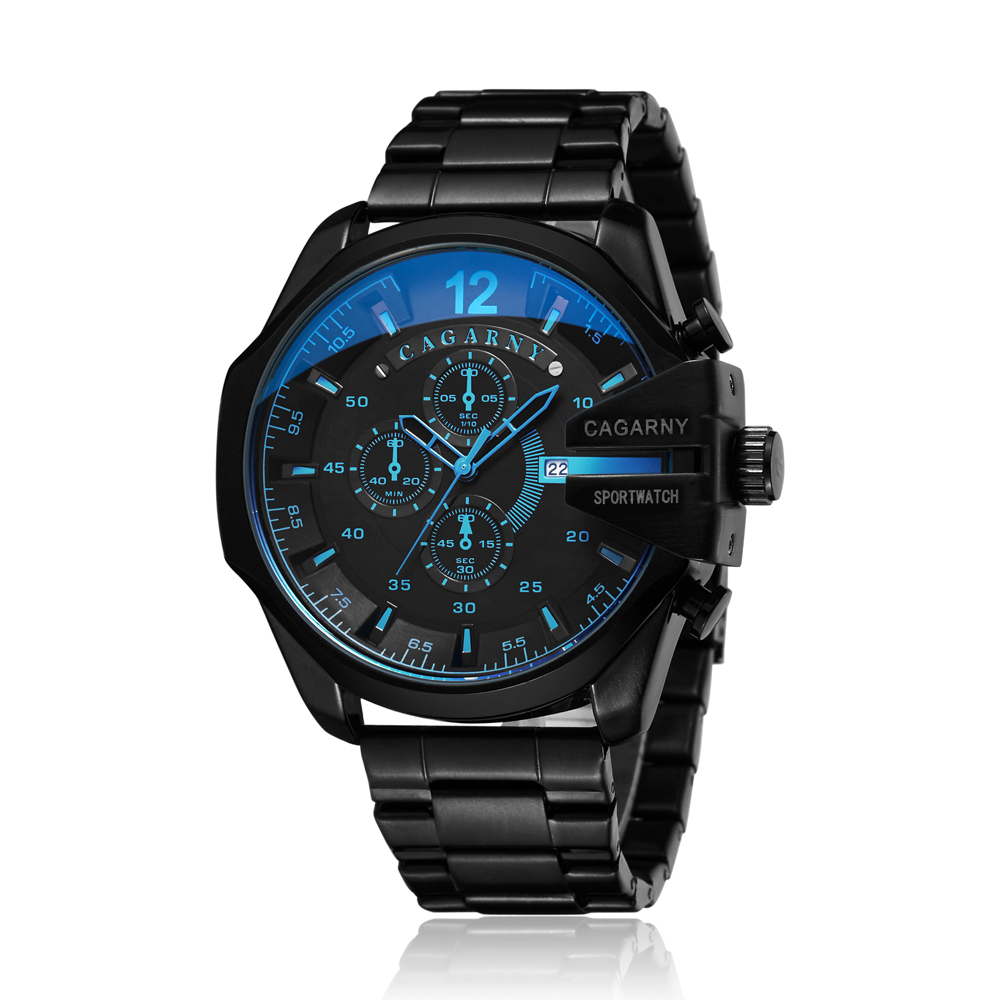 Cagarny Mens Quartz Analog Watch Luxury Fashion Sport Wristwatch Waterproof Black Stainless Male Watches Clock Relogio Masculino