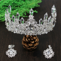 Sparkling Clear Austrian Crystal Large Gorgeous Wedding Crown Ear Set Party Pageant Veil Hair Accessories for Wedding Fetival