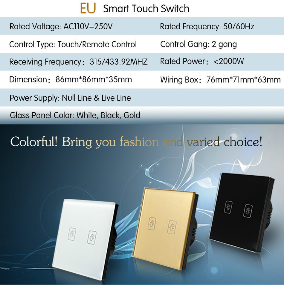 Remote Touch Switch EU Standard 2 Gang 1 way RF Remote Control Light ...