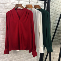 Tops Fashion Women Blouse Shirt 2019 Spring Summer Tops Shirt Ladies V Neck Solid Silk Blouses Red Green White Shirt Office