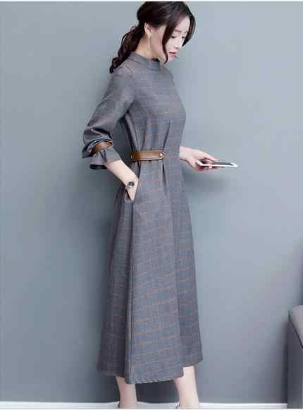 Clobee 2017 осеннее женское платье в Корейском стиле клетчатое длинное ТРАПЕЦИЕВИДНОЕ элегантное женское платье с длинным рукавом для работы и школы Femme Vestidos Q595