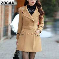 ZOGAA Women's Wool Coat Winter Spring Fashion Long Trench Coat Women Warm Clothes Slim Fit Blends Female Solid Woolen Overcoat