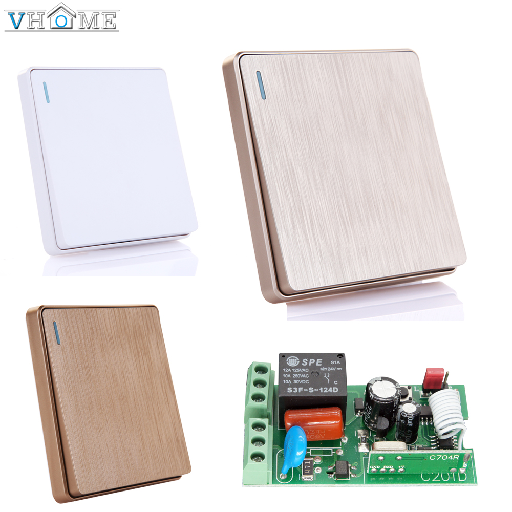 Vhome 433 Wireless Remote Control Switch AC 220V Receiver Wall Panel Remote Transmitter Hall Bedroom Ceiling Lights Wall Lamps
