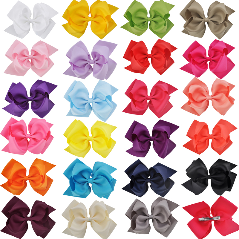 1pc 6 Inch Bowknot Double Layers Solid Grosgrain Ribbon Hairbow Children Gi..