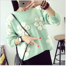 Spring 2019 new sweater lovely girl with loose bottom knitted sweater student blouse(China)