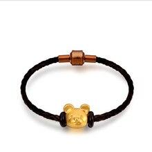 DIY чистый 999 24 k желтое золото 3D Медведь струнный браслет 1,03 г