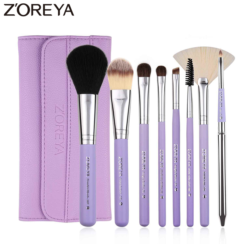 Zoreya Brand 8pcs/set professional Synthetic Hair make up brushes with leather bag MakeUp Brush Set Case Cosmetic brush футболка print bar magic forest