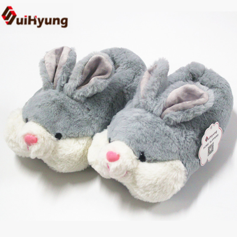 Suihyung Women's Home Slippers Indoor Shoes Winter Warmth House Flat Slip On Animal Bunny Plush Slippers Fur Slides Cotton Shoes