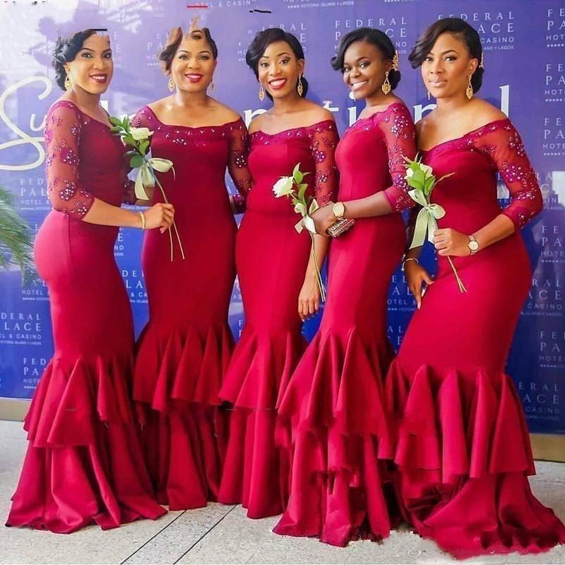 Custom made   Bridesmaid     Dress   Long Applique Mermaid Wedding Guest Maid of the Honor   Dresses   Beaded Satin vestido de festa longo