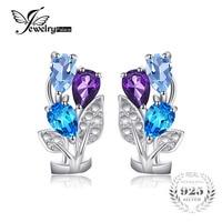 JewelryPalace Multicolor 2.5ct Genuino Ametista Topazio Azzurro Clip Su Orecchini Argento 925 Gioielli D'epoca Per Le Donne 2016