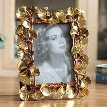 gold ginkgo leaves creative photo frame pendulum resin home furnishings