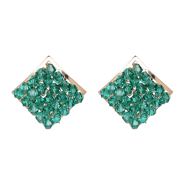 Fashion Green Crystal Beads Stud Earring For Women Bohemian Handmade Square Earrings Studs Bricons Jewelry Party