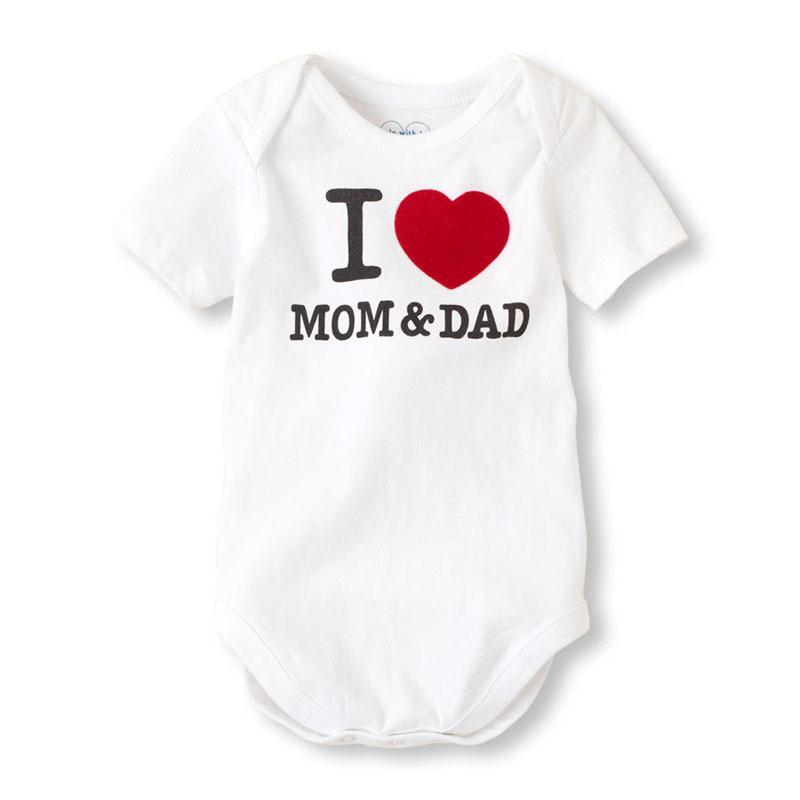 Summer I love my mom Dad Baby Clothes Newborn Short Sleeve Cotton baby Rompers Girls Boys Clothes roupas de bebe baby boys girls clothes newborn bebe rompers costume short sleeve ropa de bebe 100%cotton clothing 5pcs lot unisex 0 9months