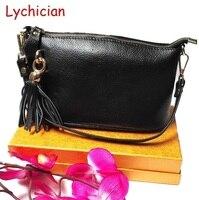 Kadın klasik İlk katman gerçek hakiki deri omuz çanta bayanlar messenger çanta Lychee desen moda püskül dekorasyon