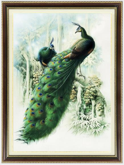 94 * 72cm Needlework, DIY Crossstitch, Fullbroderi set, Snow Forest lover Peacock Crossstitch dekoration målning grossist