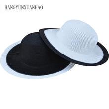 Fashion Women Foldable Black&White Straw Sun Hat Floppy Wide Large Wave Brim Cap Summer Beach Panama Hats Sun Protection Caps catalog sun wave