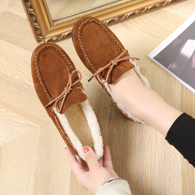 Shoes Woman New Winter Warm Cotton Shoes Women Low cut Snow Booties Plush Non slip Ladies Loafers Fashion Casual Flats Promotion in Women 39 s Flats from Shoes