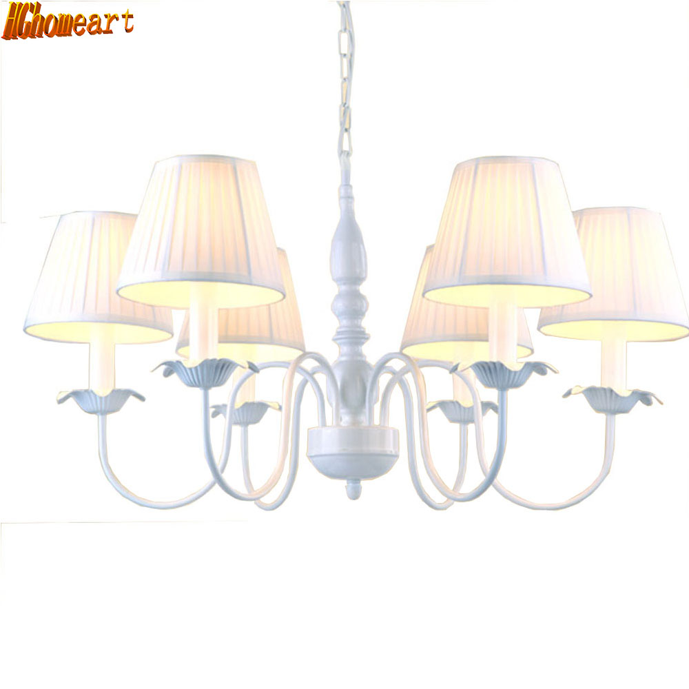 European Farmhouse Style 6 Head Chandelier Lighting Led E14 Lamp 110V-220V Iron Resin Suspension Chandeliers for The Bedroom high quality princess room farmhouse resin living room chandelier led e27 lamp 110v 220v 3 head suspension chandelier lighting