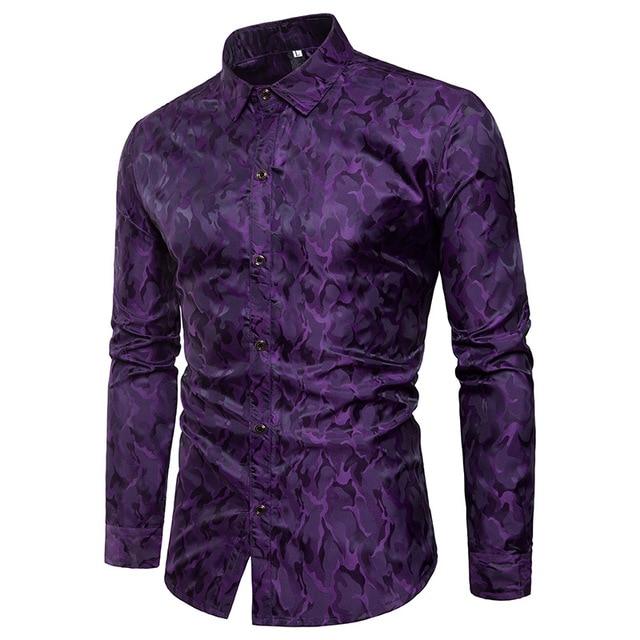 Paars Camouflage Shirt Mannen 2018 Merk Nieuwe Gladde Zijde Katoen Heren Overhemden Casual Slim Fit Lange Mouwen Chemise Homme camisa