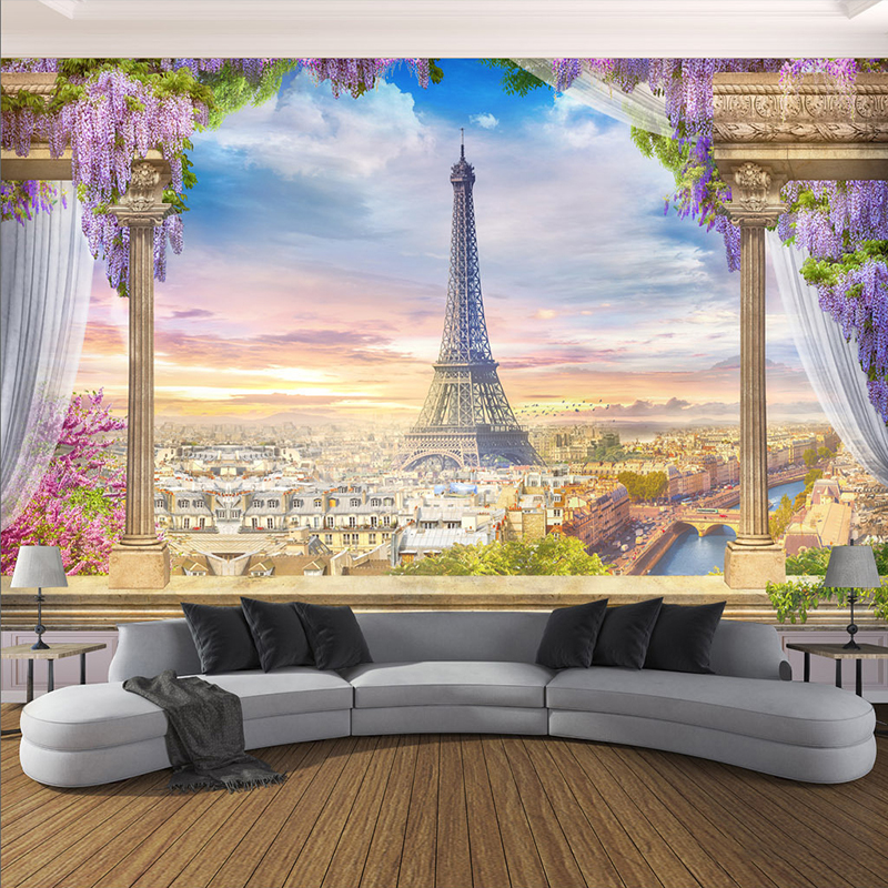Custom Any Size Photo Wallpaper 3D Stereo Rome Column Paris Tower Murals Restaurant Living Room Bedroom Backdrop Wall Decor 3 D