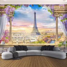 Custom Any Size Photo Wallpaper 3D Stereo Rome Column Paris Tower Murals Restaurant Living Room Bedroom Backdrop Wall Decor 3 D(China)