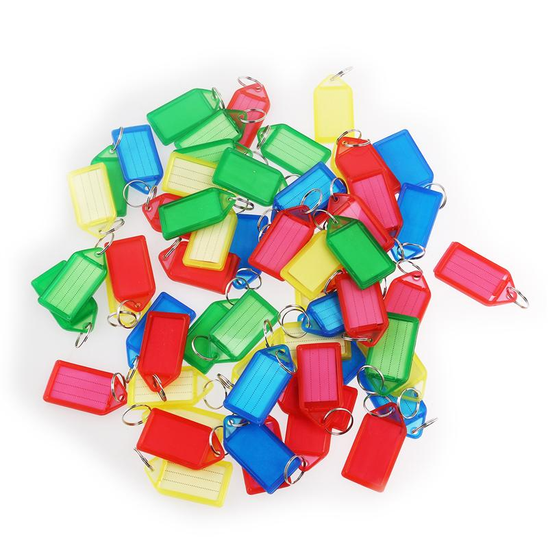 60pcs Multi-color Plastic Key Fobs Luggage ID Tags Labels with Key Rings (Random Color)