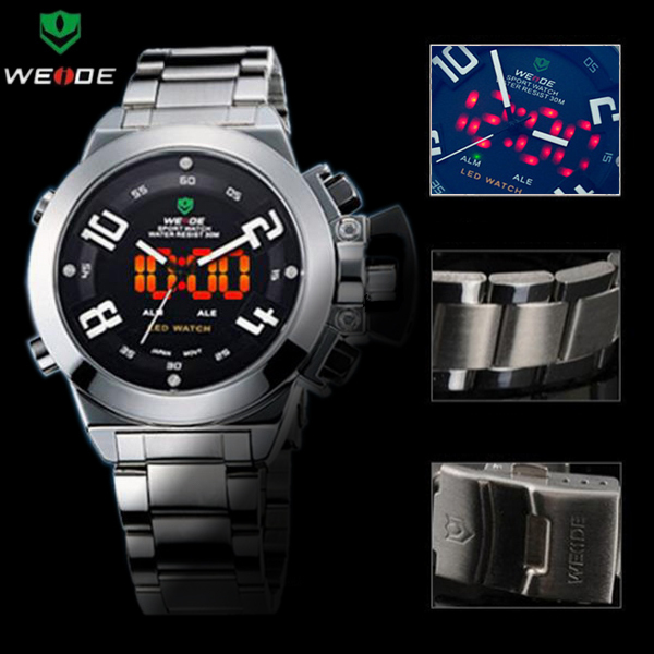 China Post Free Shipping WEIDE Black Dial Analog LED Day/Date Digital Alarm Casual Watch For Mens WH-1008-1 Relogio Masculino
