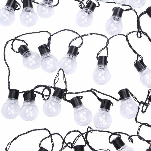 Уличная светодиодная гирлянда с круглыми лампочками, Рождественский шнурок с прозрачными лампочками для украшения свадьбы, вечеринки, сказосветильник ильник для дома, сада, патио, 10 м