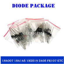 8kinds of commonly used diode package contains 1N4007 1N4148 1N5819 FR107 FR207 1N5822 1N5408 1N5408 =100pcs Diode Assorted Kit