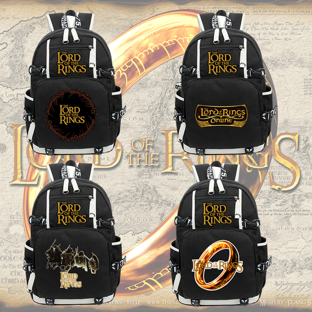 0a6821fff09f Anime The Lord of the Rings canvas Backpack zipper Students school bag  Rucksack laptop bag cosplay