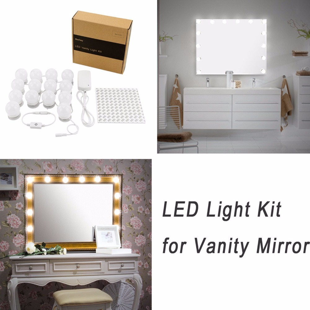 diy vanity light mirror. Hollywood DIY Vanity Lights Strip Kit for Lighted Makeup Dressing Table  Mirror Plug in LED Lighting Fixture Mirrors from Beauty Health on