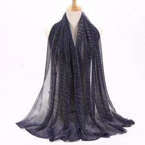 Image 3 - NEW Shimmer Veils hijab Scarf Shiny Pearls Beaded Crinkle Shawl Fashion Muslim hijabs Women maxi Scarves Shawls Islamic Scarf