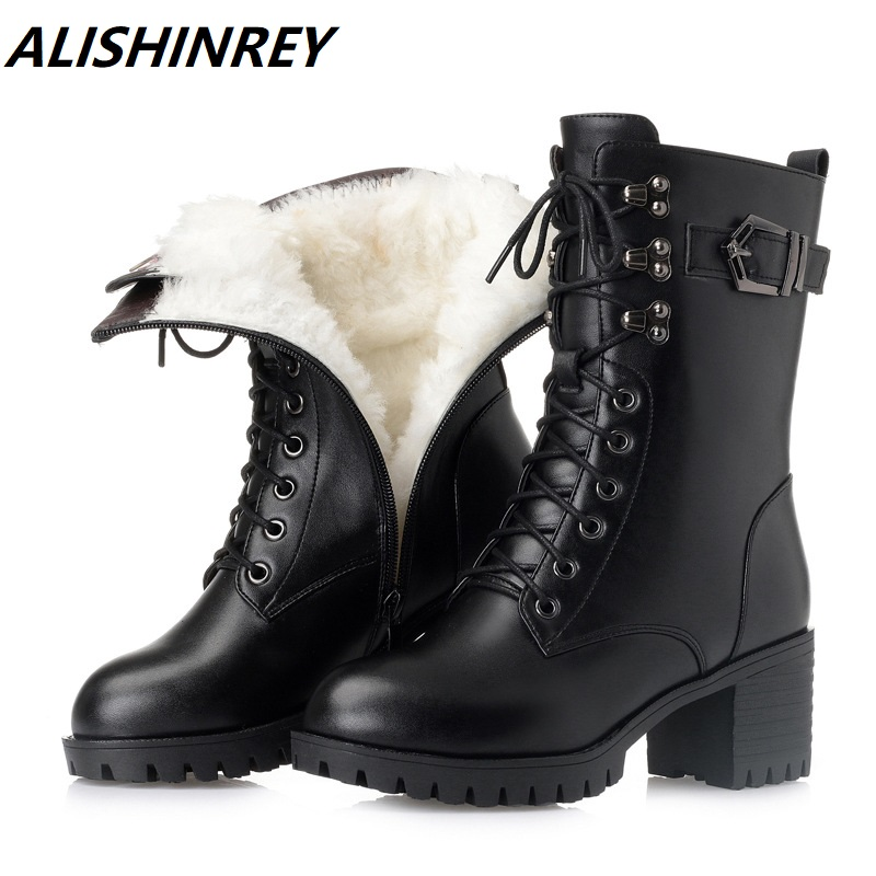 ALISHINREY Boots Women New Genuine Leather Women Martin boots Thick heel Lace Wool Warm Motorcycle boots