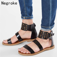 Women Sandals Soft Leather Gladiator Sandals Summer Flat Casual Shoes Woman Sexy Rivet Plus Size Beach Shoes Sandals Women gktinoo woman genuine leather flat sandals summer shoes casual comfortable flower sandals women sandals big size