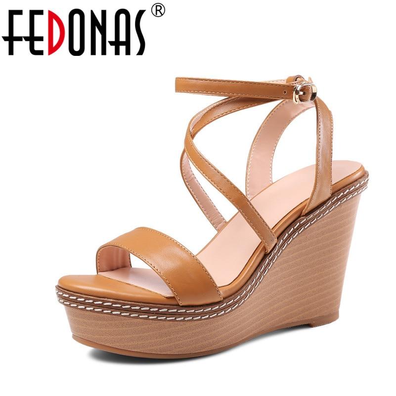 FEDONAS 2018 Fashion New Sandals Women Summer Shoes Peep-toe Wedges Heels Platforms Genuine Leather Shoes Woman Roman Sandals стоимость