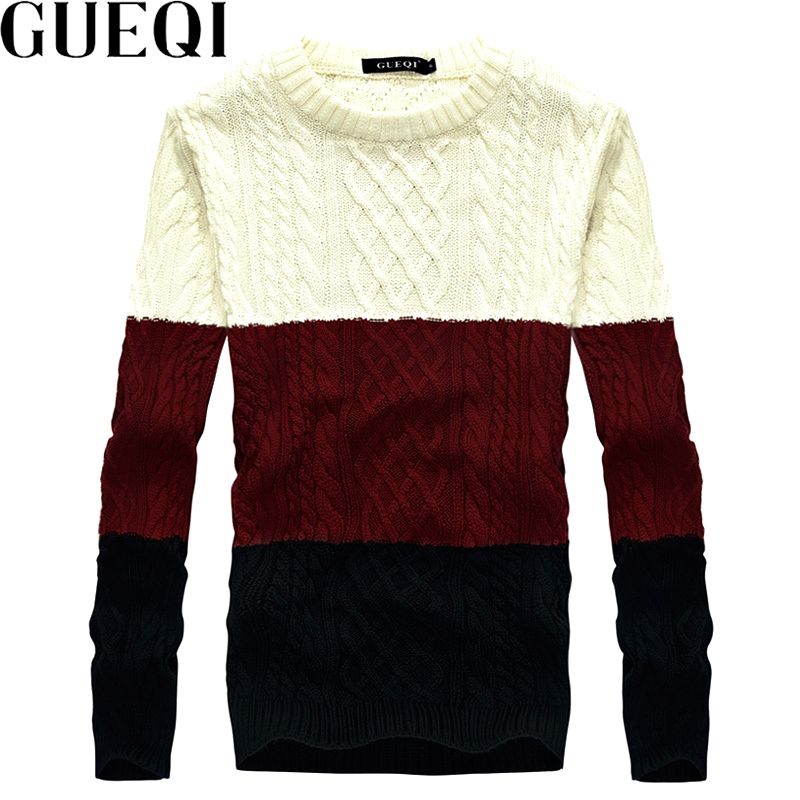 Gueqi new fashion man wool sweaters size l 2xl good brand patchwork design 2017 men warm