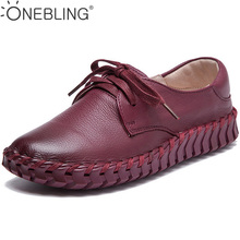 2017 Fashion Genuine Leather Sewing Shoes Casual Lace Up Women Flats Outdoor Casual Flat Shoes Soft Breathable Leather Shoes
