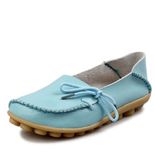 2017 New women Real Leather flats Moccasins Loafers Soft ballerina flats Female Driving Casual Footwear Size 35-44 In 16 Colors