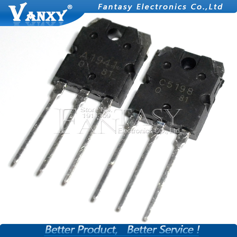 10PCS 5pairs 2SC5198 2SA1941 TO3P (5PCS A1941 + 5PCS C5198)  TO-3P Transistor Original Authentic