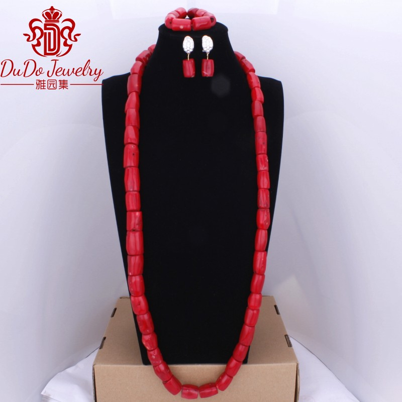 Vin rouge romantique Nature corail bijoux ensemble collier boucles d'oreilles Bracelet mode africain nigérian mariage perles bijoux ensemble 2018