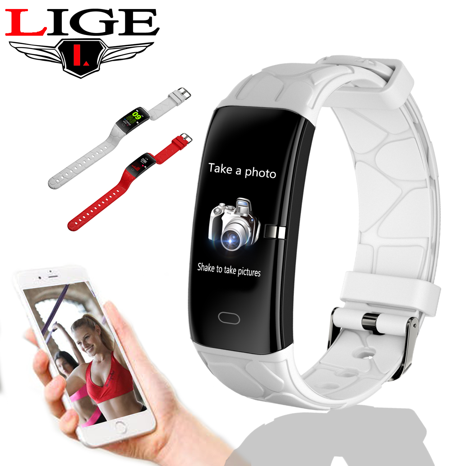 LIGE New Sport Smart Bracelet Women IP68 Waterproof Fitness Tracker Heart Rate Monitor Pedometer Smart Watch For Android ios+Box-in Smart Wristbands from Consumer Electronics