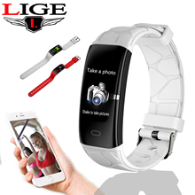 LIGE New Sport Smart Bracelet Women IP68 Waterproof Fitness Tracker Heart Rate Monitor Pedometer Smart Watch For Android ios+Box