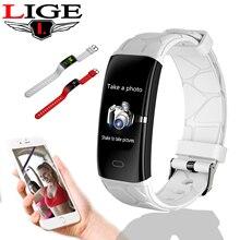 LIGE Novo Esporte Pulseira Mulheres IP68 Inteligente À Prova D Água Rastreador De Fitness Monitor De Freqüência Cardíaca Pedômetro Relógio Inteligente Para Android ios + caixa