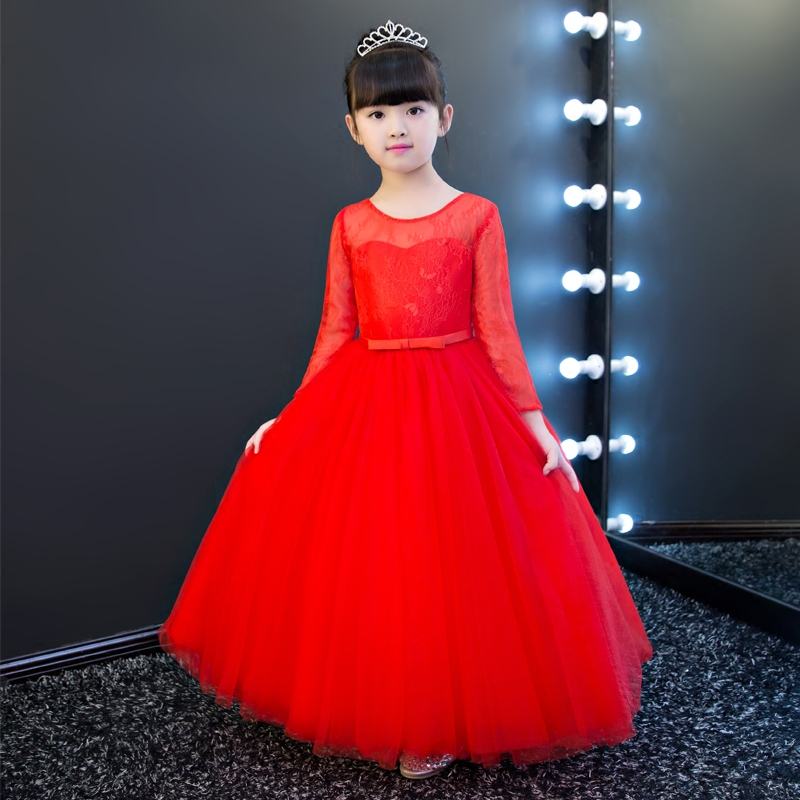 Fashion Elegant Girls Red Color Long Lace Princess Dress 2017 Children Kids Casual Wedding ...
